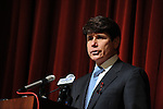 Illinois Governor Rod Blagojevich expresses condolences at a press conference the day after a deadly school shooting at Northern Illinois University in DeKalb, Illinois, on February 15, 2008.  Stephen Kazmierczak, 27, opened fire at Cole Hall in the university on February 14 killing five students and wounding 15 others before turning his gun on himself, police said.