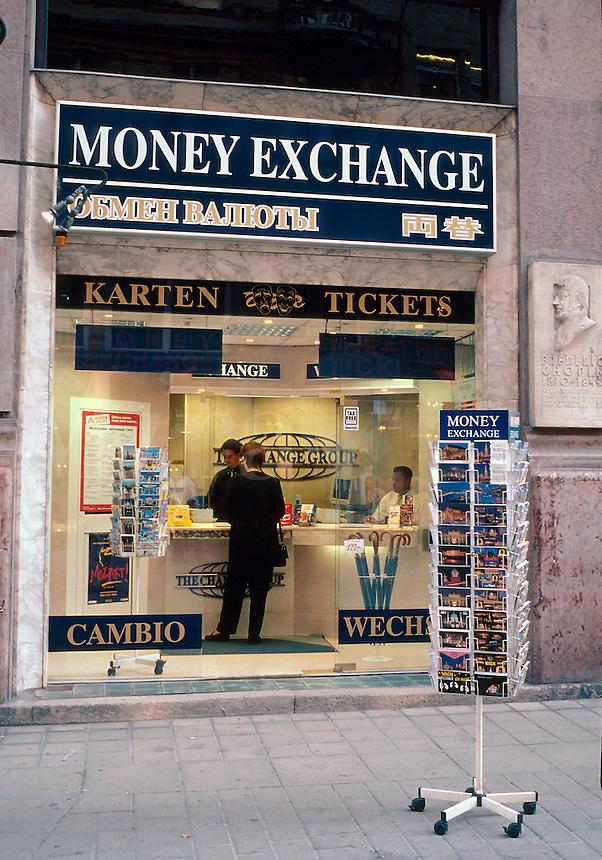 Money Exchange storefront on Kartnerstrasse, one of Vienna's premier tourist and shopping destinations. Vienna, Austria.