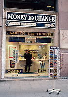 Money Exchange storefront on Kartnerstrasse, one of Vienna's premier tourist and shopping destinations. Vienna, Austria.
