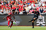 AC Milan Forward Fabio Borini (R) plays against Bayern Munich Defender David Alaba (L) during the 2017 International Champions Cup China  match between FC Bayern and AC Milan at Universiade Sports Centre Stadium on July 22, 2017 in Shenzhen, China. Photo by Marcio Rodrigo Machado / Power Sport Images
