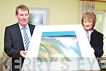Sean O'Keeffe Kerry's Eye presents the winner of the Kerry's Eye art competition winner Maud Malone, Maryvale, Muckross Road, Killarney an original John Hurley painting on Wednesday at her home