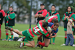 A. Luteru gets taken to ground by 2 Waiuku tacklers. Counties Manukau Premier Club Rugby, Ardmore Marist vs Waiuku played at Bruce Pulman Park, Papakura on the 29th of April 2006. Ardmore Marist won 10 - 9.