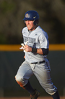 Georgetown Hoyas catcher Richie O'Reilly (11) running the bases during a game against the Chicago State Cougars on March 3, 2017 at North Charlotte Regional Park in Port Charlotte, Florida.  Georgetown defeated Chicago State 11-0.  (Mike Janes/Four Seam Images)