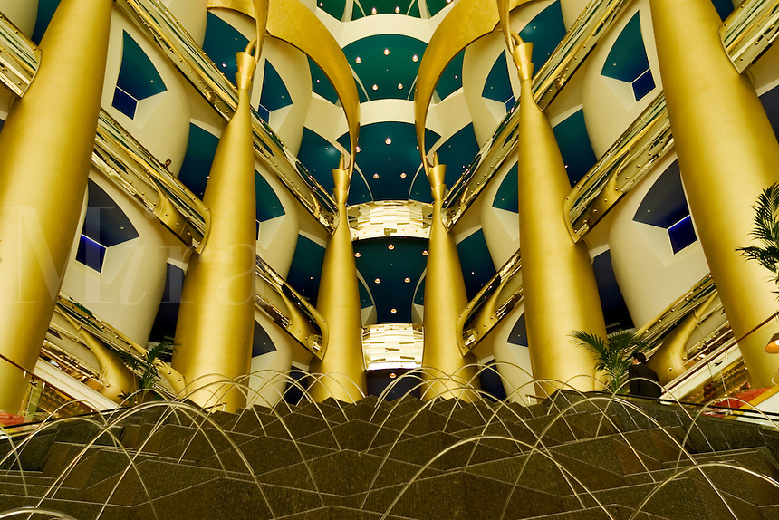 Dubai, United Arab Emirates. Interior of Burj al Arab Hotel at Jumeira Beach designed by Thomas Wills Wright, architect, of W. S. Atkins