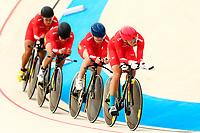 Picture by Alex Whitehead/SWpix.com - 09/12/2017 - Cycling - UCI Track Cycling World Cup Santiago - Velódromo de Peñalolén, Santiago, Chile - China's Xiaofei Wang, Qiaolin Chen, Jin Chenhong and Hong Wang compete in the Women's Team Pursuit first round