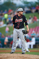Great Lakes Loons pitcher David Reid-Foley (41) looks in for the sign during a game against the Kane County Cougars on August 13, 2015 at Fifth Third Bank Ballpark in Geneva, Illinois.  Great Lakes defeated Kane County 7-3.  (Mike Janes/Four Seam Images)