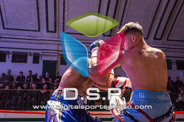 Charlie Beardon VS Liam Conroy - Middleweight Contest. Photo by: Stephen Smith.<br /> <br /> Goodwin Boxing: Paddy's Day Punch Up - Saturday 19th March 2016. York Hall, Bethnal Green, London, United Kingdom.