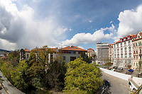 View to the architecture, natue and blue sky in one of Pragues districts.
