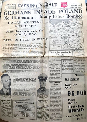 The Water Wag Class's copy of Dublin's Evening Herald for Friday 3rd September 1939