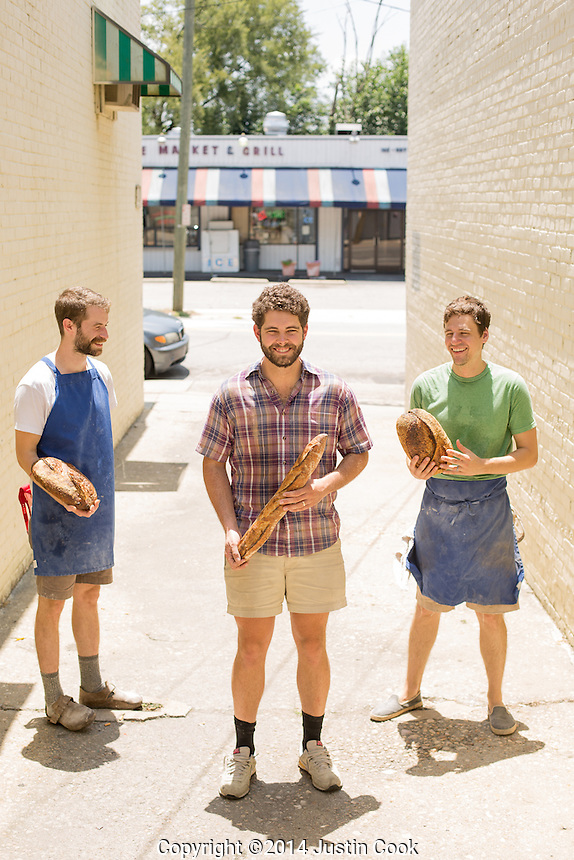 FROM LEFT: (ALL CQ) Fulton Ford, Sam Kirkpatrick and Josh Bellamy are Boulted Bread in Raleigh in Raleigh, N.C. on Wednesday, July 2, 2014. (Justin Cook)