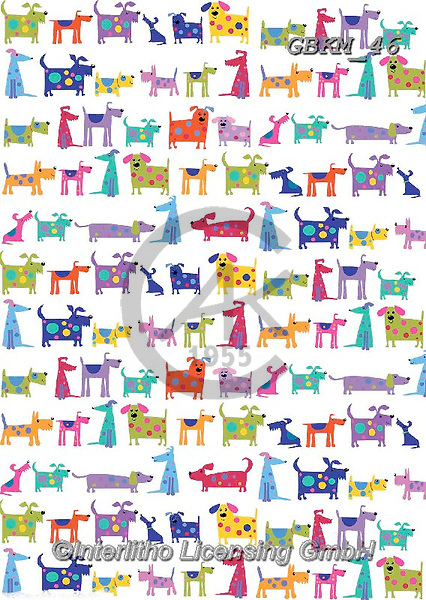 Kate, GIFT WRAPS, GESCHENKPAPIER, PAPEL DE REGALO, paintings+++++Bright dogs repeat 2,GBKM46,#gp#, EVERYDAY ,sticker,stickers