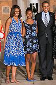 First Lady Michelle Obama, left, daughter Sasha Obama, center, and United States President Barack Obama, left, attend the Marine Barracks Washington, D.C. Evening Parade in Washington, D.C., on Friday, June 27, 2014. <br /> Credit: Kristoffer Tripplaar  / Pool via CNP