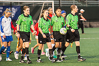 Allston, MA - Wednesday Sept. 07, 2016: Game officials, Tom Felice, Kali Langevin, Cuauhtemoc Delgadillo, Sean Regan during a regular season National Women's Soccer League (NWSL) match between the Boston Breakers and the Western New York Flash at Jordan Field.