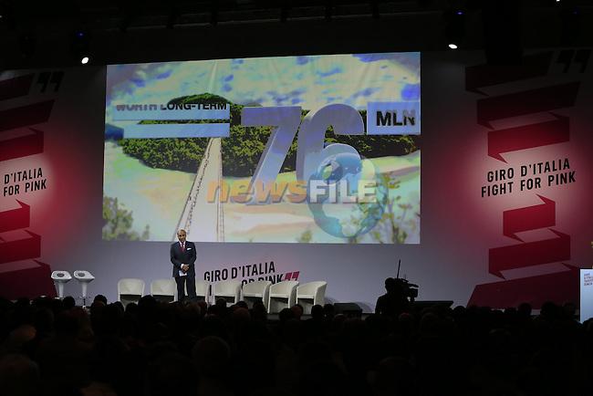 Andrea Monti, La Gazzetta dello Sport Editor-in-Chief, on stage at the Giro d'Italia 2016 Presentation held at Expo Milano, Milan, Italy. 5th October 2015.<br /> Picture: Eoin Clarke | Newsfile