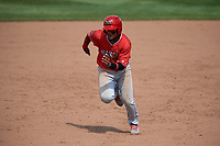 Batavia Muckdogs center fielder Ricardo Cespedes (32) runs the bases during a game against the Auburn Doubledays on June 17, 2018 at Falcon Park in Auburn, New York.  Auburn defeated Batavia 10-6.  (Mike Janes/Four Seam Images)