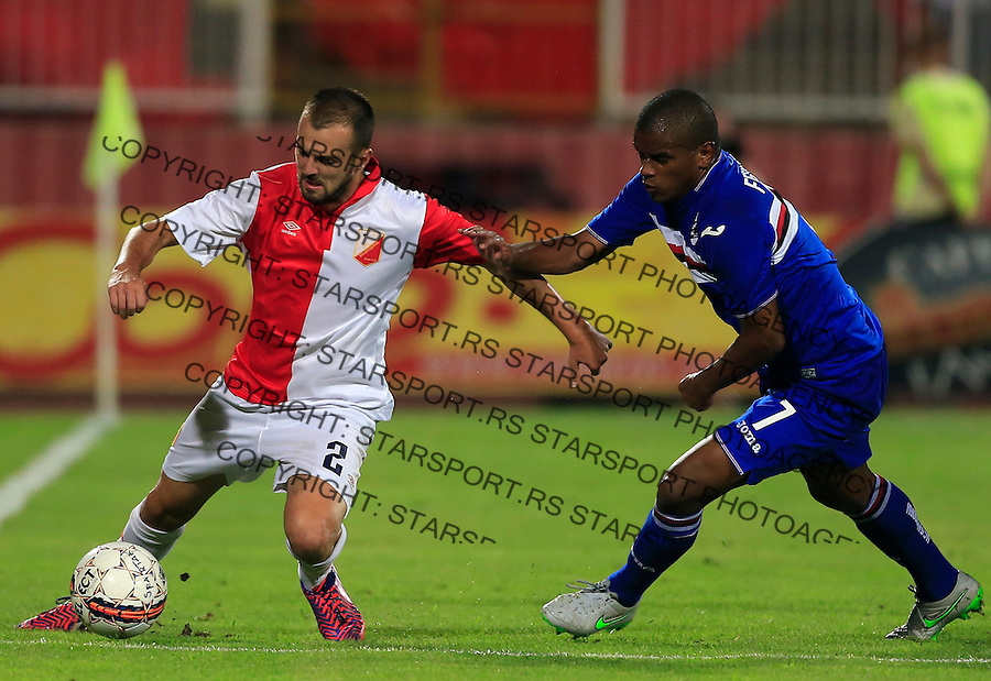 NOVI SAD, SERBIA - AUGUST 06: Jovica Vasilic (L) of Vojvodina Novi Sad in action against Fernando (R) of Sampdoria during the UEFA Europa League Third Qualifying Round 2nd Leg match between Vojvodina Novi Sad and Sampdoria at Karadjordje stadium on August 06, 2015 in Novi Sad, Serbia.  (Photo by Srdjan Stevanovic/Getty Images)