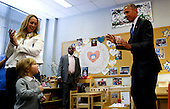 United States President Barack Obama visits pre-schoolers in a classroom at Adas Israel Congregation after delivering remarks in celebration of Jewish American Heritage Month, Friday May 22, 2015, in Washington, DC.<br /> Credit: Aude Guerrucci / Pool via CNP