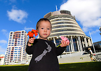 Petition organiser Nik Green's son Sam. Semi-automatic weapons ban and firearms advertising regulation petitions at Parliament in Wellington, New Zealand on Thursday, 21 March 2019. Photo: Dave Lintott / lintottphoto.co.nz