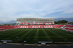 09 August 2014: A wide shot of the West Stand at Rio Tinto Stadium. Real Salt Lake hosted DC United at Rio Tinto Stadium in Sandy, Utah in a 2014 Major League Soccer regular season game. Salt Lake won the game 3-0.