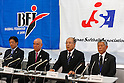 (L-R)  Masayuki Naito,  Yoshinobu Suzuki (BFJ),  Masanori Ozaki,   Yoshio Sasada (JSA),<br /> SEPTEMBER 9, 2013 - Baseball / Softball :<br /> Baseball Federation of Japan executives and Japan Softball Association executives attend the press conference about Baseball and Softball not being selected from the Olympic summer Games in 2020 at  Japan Baseball Center, Sapia Tower in Tokyo, Japan. (Photo by AFLO SPORT)