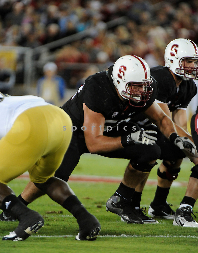 DAVID DECASTRO, of the Stanford Cardinal, in action during Stanford's game against the UCLA Bruins on October 1, 2011 at Stanford Stadium in Stanford, CA. Stanford beat UCLA 45-19.