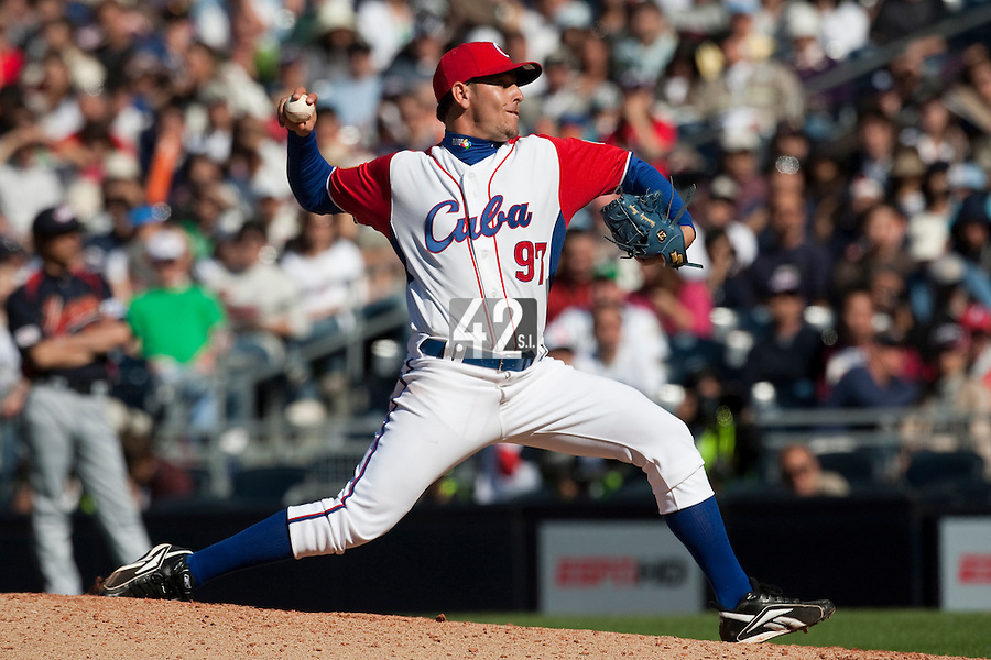 15 March 2009: #97 Yunesky Maya of Cuba pitches against Japan during the 2009 World Baseball Classic Pool 1 game 1 at Petco Park in San Diego, California, USA. Japan wins 6-0 over Cuba.