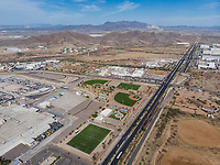 Aerial view of the Ford Motor Company automotive company in the Hermosillo industrial park. Automotive industry.<br />