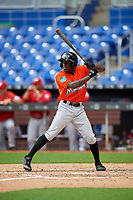 Miami Marlins Milton Smith (72) at bat during a Florida Instructional League game against the Washington Nationals on September 26, 2018 at the Marlins Park in Miami, Florida.  (Mike Janes/Four Seam Images)