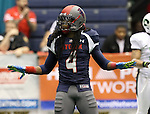 SIOUX FALLS, SD - FEBRUARY 21:  Patrick Wells #4 from the Sioux Falls Storm celebrates a defensive stop against the Nebraska Danger in the second quarter of their game Friday night at the Sioux Falls Arena. (Photo by Dave Eggen/Inertia)