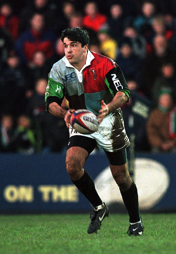 Photo. Richard Lane.Leicester v Harlequins. 29/12/99..Nick Greenstock.
