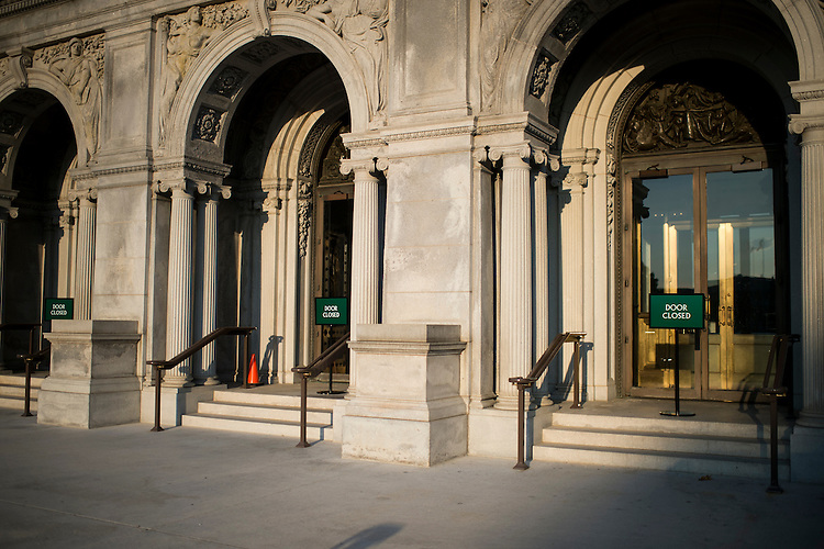 UNITED STATES - SEPTEMBER 30: The doors of the Library of Congress closed at 5PM on Monday, Sept. 30, 2013, and will not reopen until Congress, meeting across the street, finds a way to fund the federal government. (Photo By Bill Clark/CQ Roll Call)