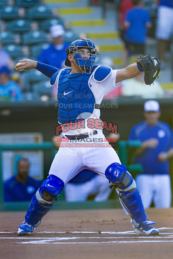 Oklahoma City Dodgers catcher Austin Barnes (5) throws to second base in a game against the Omaha Storm Chasers at Chickasaw Bricktown Ballpark on June 16, 2016 in Oklahoma City, Oklahoma. Oklahoma City defeated Omaha 5-4  (William Purnell/Four Seam Images)