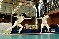 BOGOTA – COLOMBIA – 27 – 05 – 2017: Yuexin Shi (Izq.) de China, combate con Oriana Tovar (Der.) de Colombia, durante Damas Mayores Epee del Gran Prix de Espada Bogota 2017, que se realiza en el Centro de Alto Rendimiento en Altura, del 26 al 28 de mayo del presente año en la ciudad de Bogota.  / Yuexin Shi (L) from China, fights with Oriana Tovar (R) from Colombia, during Senior Women´s Epee of the Grand Prix of Espada Bogota 2017, that takes place in the Center of High Performance in Height, from the 26 to the 28 of May of the present year in The city of Bogota.  / Photo: VizzorImage / Luis Ramirez / Staff.