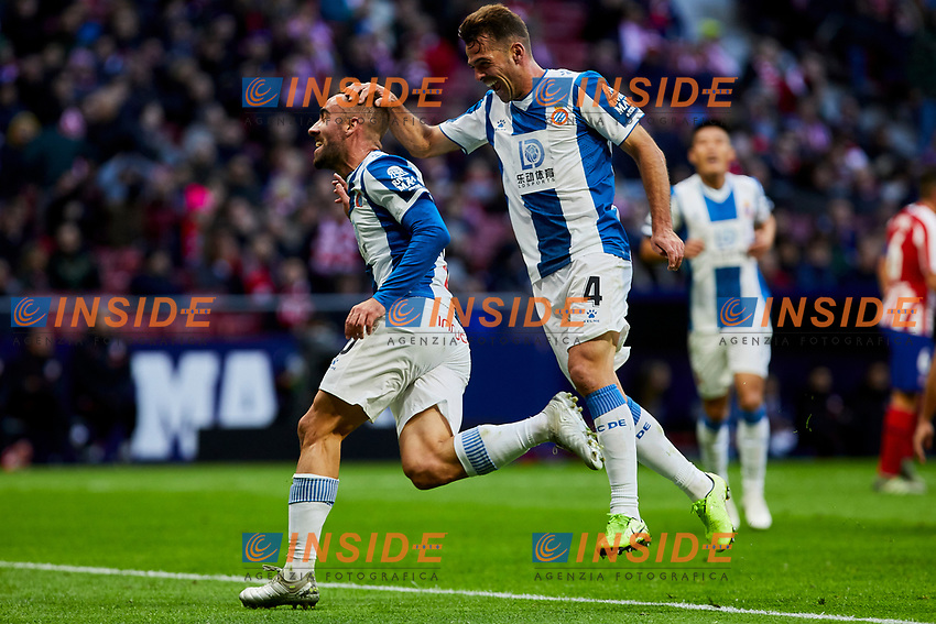 Sergi Darder (L) and Victor Sanchez (R) of RCD Espanyol celebrate goal during La Liga match between Atletico de Madrid and RCD Espanyol at Wanda Metropolitano Stadium in Madrid, Spain. November 10, 2019. (ALTERPHOTOS/A. Perez Meca)<br /> Liga Spagna 2019/2020 <br /> Atletico Madrid - Espanyol <br /> Photo Alterphotos / Insidefoto <br /> ITALY ONLY