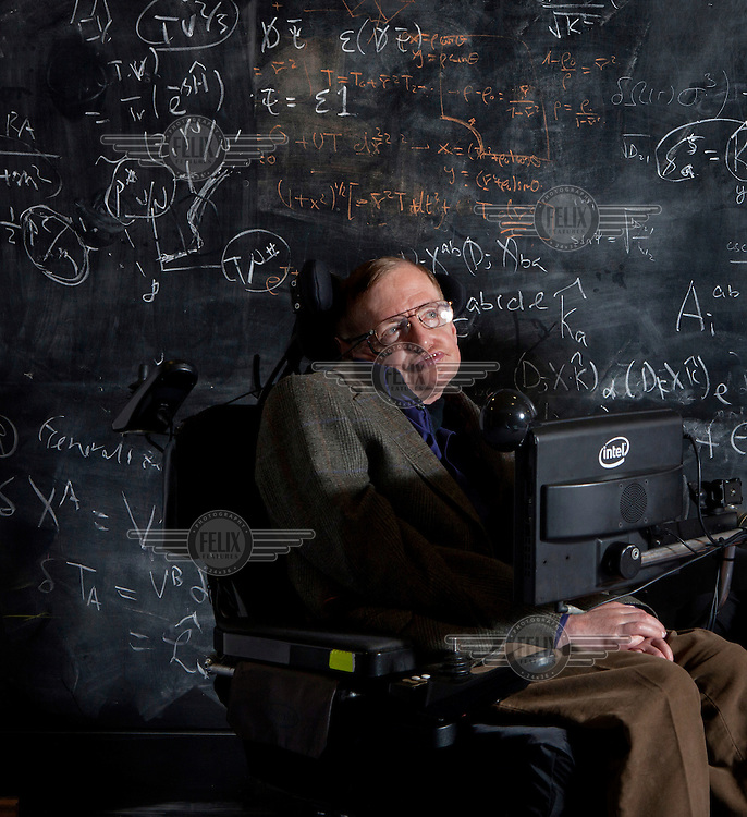 Professor Stephen Hawking at the Centre of Applied Maths and Theoretical Physics at Cambridge University (DAMTP).
