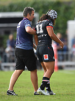 An injured Isaiah Papalii is taken off the field by Dr John Mayhew.<br /> NRL Premiership. Vodafone Warriors v Gold Coast Titans. Mt Smart Stadium, Auckland, New Zealand. March 17 2018. &copy; Copyright photo: Andrew Cornaga / www.Photosport.nz