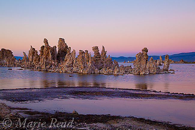 Tufa formations on the shore of Mono Lake at sunset, California, USA