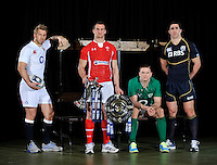 London, England. (L-R) Chris Robshaw of England, Sam Warburton of Wales, Jamie Heaslip of Ireland and Kelly Brown of Scotland pose with the Six Nations trophy and the Triple Crown trophy during the RBS Six Nations launch at The Hurlingham Club on January 23, 2013 in London, England.