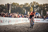 race leader Mathieu Van der Poel (NED) ploughing through the sand. <br /> <br /> UEC CYCLO-CROSS EUROPEAN CHAMPIONSHIPS 2018<br /> 's-Hertogenbosch – The Netherlands<br /> Men Elite Race