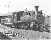 RGS 4-6-0 #20 with post-movie tender paint in Ridgway yard.<br /> RGS  Ridgway, CO  1949-1951