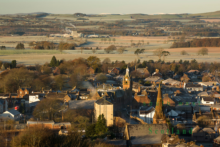 Looking down on Lockerbie on a frost cold winter morning from Mounthoolie hill above the town, Annandale, Scotland, UK.