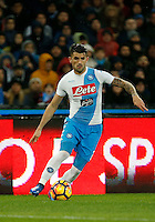Elseid Hysaj  during the  italian serie a soccer match,between SSC Napoli and Atalanta      at  the San  Paolo   stadium in Naples  Italy , February 26, 2017