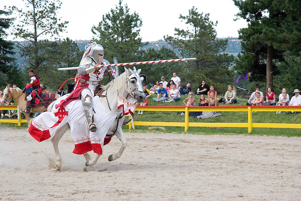 Knight jousting at the Renaissance Festival, Larkspur, Colorado, USA. .  John offers private photo tours in Denver, Boulder and throughout Colorado. Year-round.