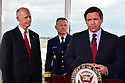 FORT LAUDERDALE, FLORIDA - MARCH 07: Sen. Rick Scott (R-FL),  U.S. Coast Guard Admiral Eric Jones and Florida Governor Ron DeSantis stand together with U.S. Vice President Mike Pence during a press conference after participating in a discussion held at Port Everglades Administration Building about possible coronavirus (COVID-19) issues that the cruise line company leaders are experiencing on Saturday on March 07, 2020 in Fort Lauderdale, Florida. U.S. Vice President Pence and the coronavirus task force are heading up the efforts to combat the virus in the United States.  ( Photo by Johnny Louis / jlnphotography.com )