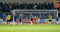3rd December 2019; Pirelli Stadium, Burton Upon Trent, Staffordshire, England; English League One Football, Burton Albion versus Southend United; Scott Fraser of Burton Albion scoring from a free kick past Southend United Goalkeeper Nathan Bishop to equalise for 1-1 - Strictly Editorial Use Only. No use with unauthorized audio, video, data, fixture lists, club/league logos or 'live' services. Online in-match use limited to 120 images, no video emulation. No use in betting, games or single club/league/player publications