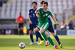 Saparov Mekan of Turkmenistan (front) fights for the ball with Haraguchi Genki of Japan during the AFC Asian Cup UAE 2019 Group F match between Japan (JPN) and Turkmenistan (TKM) at Al Nahyan Stadium on 09 January 2019 in Abu Dhabi, United Arab Emirates. Photo by Marcio Rodrigo Machado / Power Sport Images