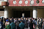 People take part in a moment of silence at 2:46 pm on the fifth anniversary of the Great East Japan Earthquake and Tsunami disaster at the Okawa Elementary School in Ishinomaki on March 11, 2016, Miyagi Prefecture, Japan. Exactly 5 years earlier 74 out of the school's 108 students lost their lives as a result of the tsunami on March 11th, 2011. There are plans to rebuild the school but as yet this has not been fixed. The fate of the destroyed buildings is also expected to be decided soon with residents of the town divided as to whether they should be preserved as a memorial or removed. (Photo by Yusuke Nakanishi/AFLO)