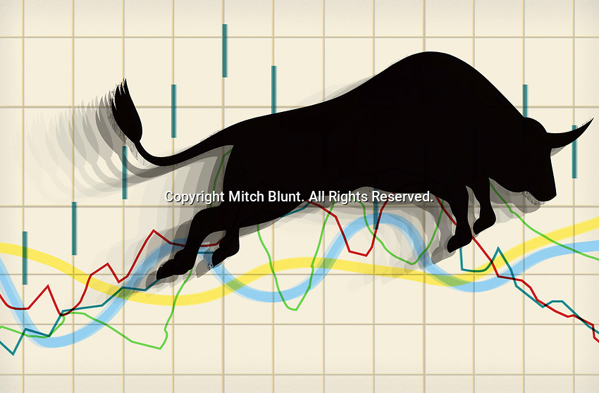 Bull leaping over stock market chart