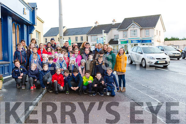 School children from Castlemaine NS and Kiltallagh NS who are appealing for speed restrictions in Castlemaine village