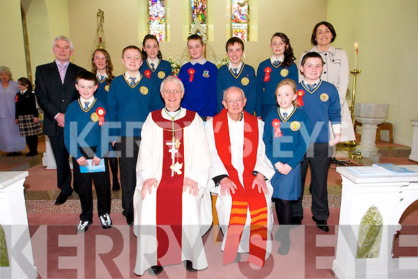 Pupils of  Loughfouder N.S who were Confirmed by Bishop Ray Browne at St Mary's Church, Knocknagoshel, on Monday. pictured Front Row Seated: Bishop Ray Browne, Canon Eoin Mangan.<br /> 2 to the left of Bishop: Evan Collins, Dara Culhane.<br /> 2 to the right of Canon Eoin Mangan: Shauna Curtin, Matthew Keane.<br /> Back Row: Mícheál Herlihy(Principal) Sarah Mullins, Róisín Brosnan,<br /> Michael Mullins, Diarmuid Shine, Clodagh Fitzgerald,Elizabeth<br /> Lane(Teacher)